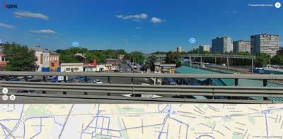Вид на станцию Болшево с моста наж железнодорожными путями