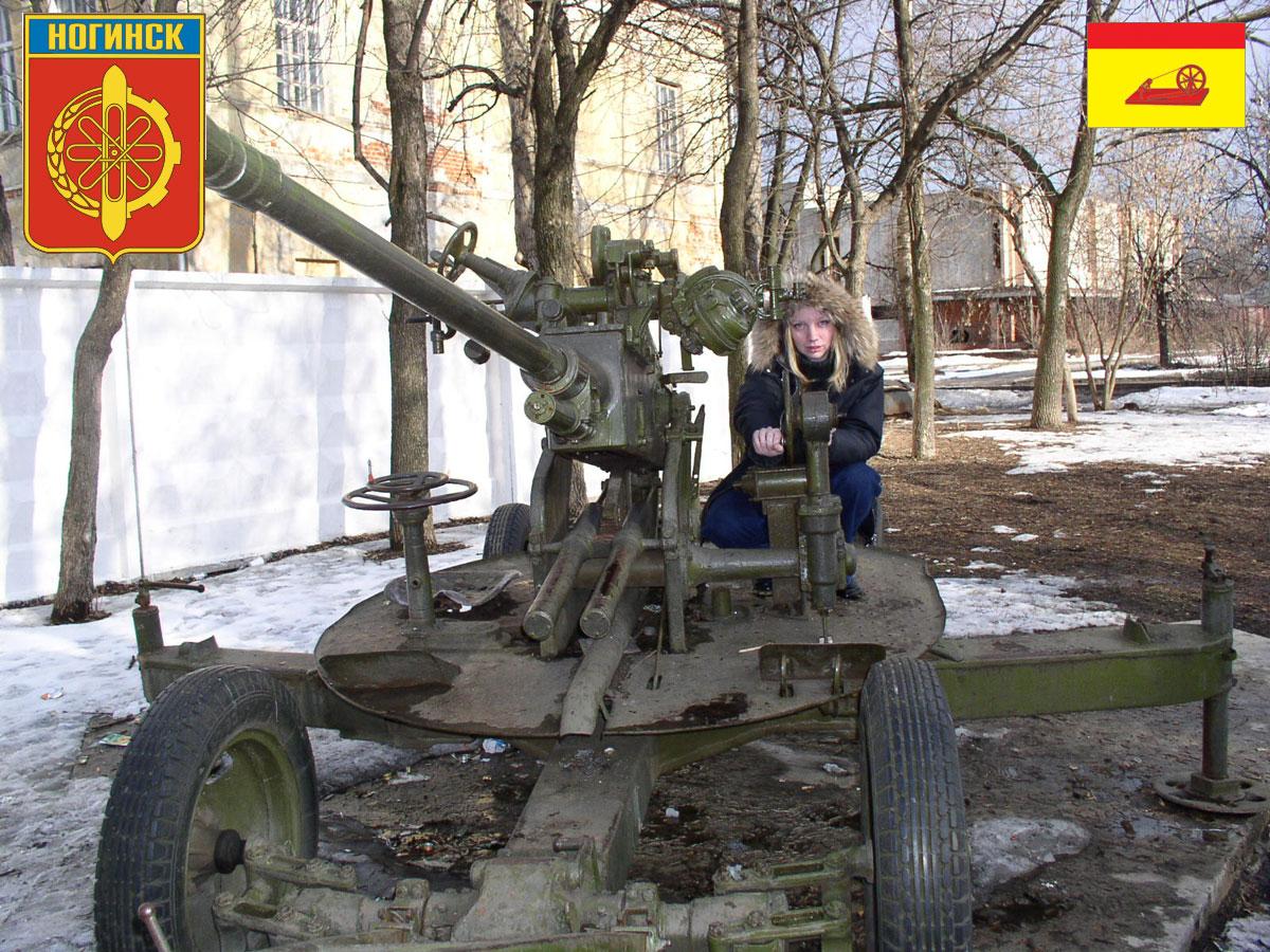 пушки и зенитки в центре Ногинска